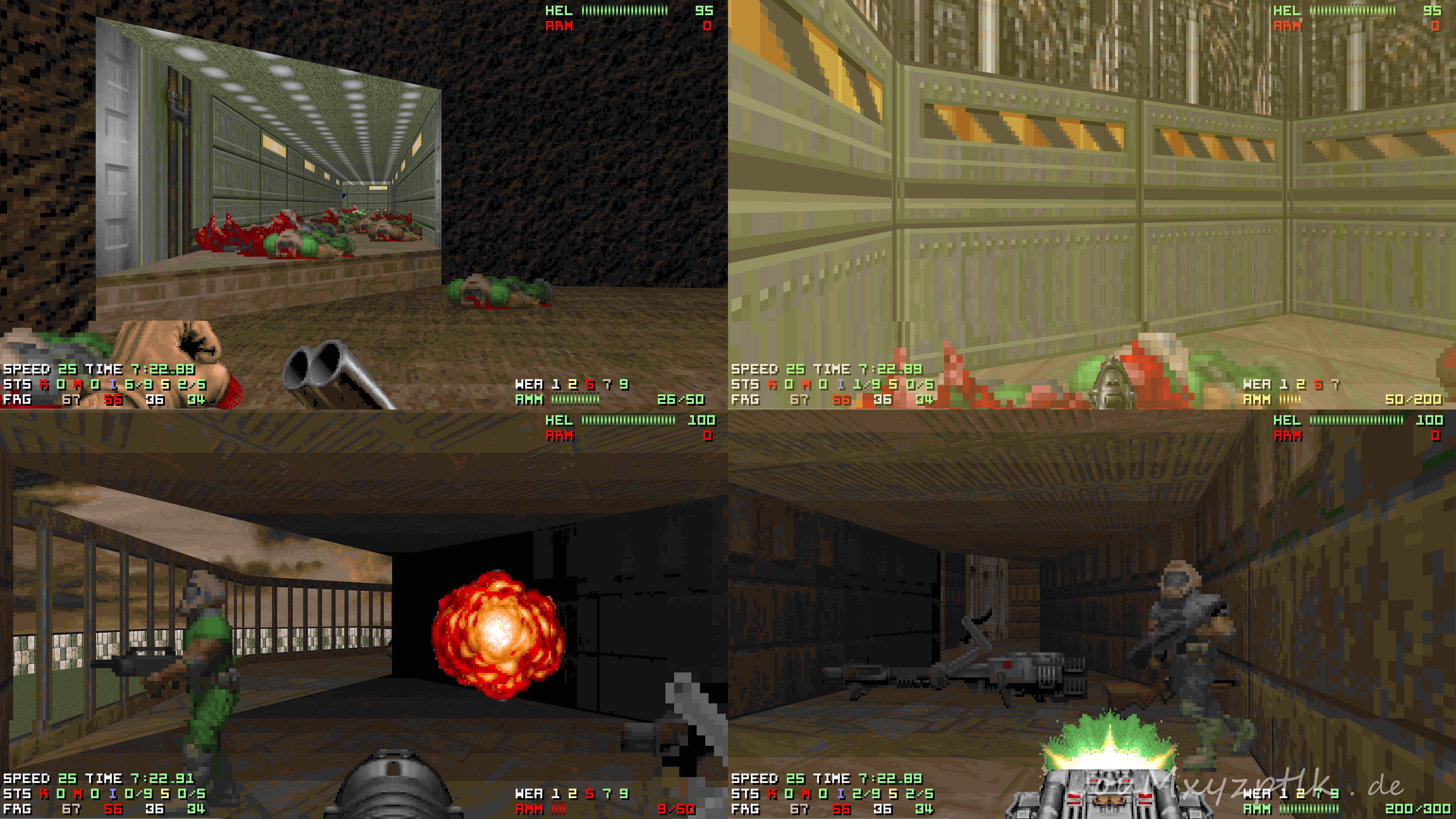 JouMxyzptlk - Doom 2 deathmatch 4 player split screen in 8k 120 fps