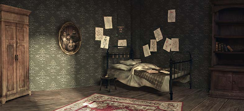 Alice Madness Returns Panorama her home room at the doctors house