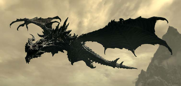 Skyrim Panorama Helgen dragon