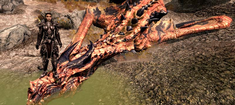 Skyrim Panorama posing on a dragon