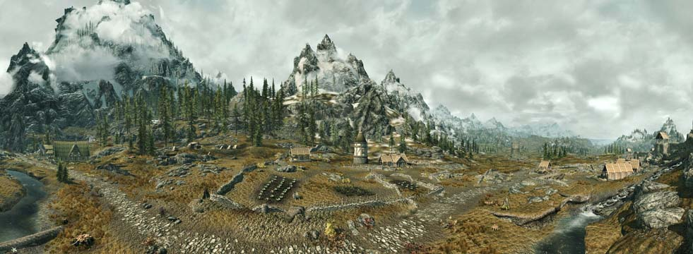 Skyrim Panorama outside of Whiterun - showing off ini hacking