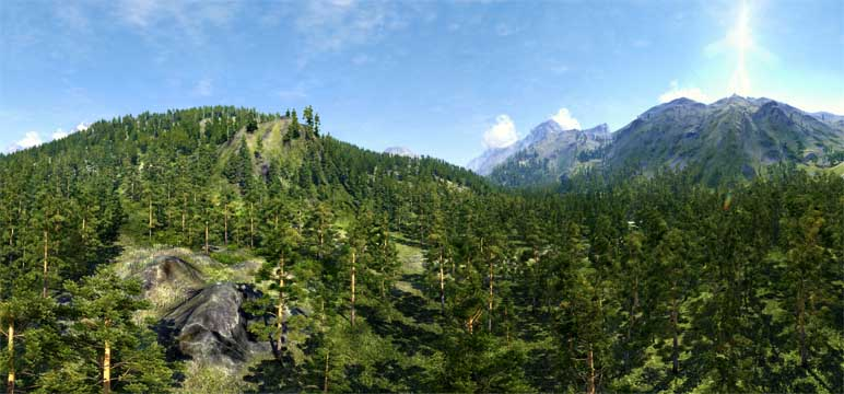 Unigine Valley panorama - green valley - created 2014